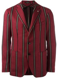Tagliatore Striped Single Breasted Blazer Red