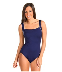 Tyr Solid Square Neck Tank Suit Navy Women's Swimsuits One Piece