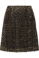 Alice By Temperley Donna Lame Rosette Appliqued Tulle Mini Skirt Metallic