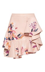 Zuhair Murad Embroidered Asymmetric Leather Mini Skirt Pink