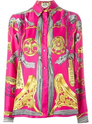 Hermes Vintage Baroque Print Shirt Pink And Purple