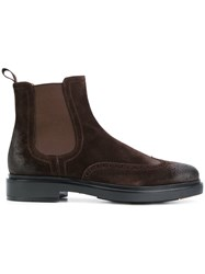 Santoni Perforated Detail Boots Men Leather Suede Rubber 8.5 Brown