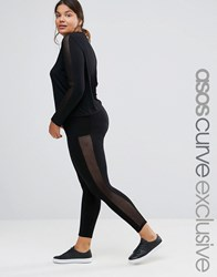Asos Curve Lounge Legging With Mesh Insert Co Ord Black