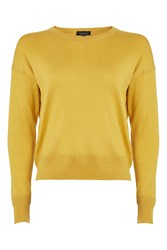 Topshop Fine Gauge Drop Shoulder Crew Neck Knitted Top Mustard