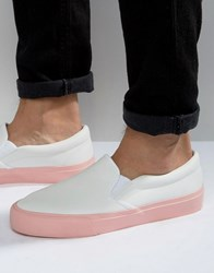 Asos Slip On Plimsolls In White With Pink Sole White