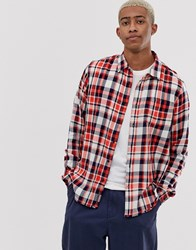 Scotch And Soda Brushed Flannel Check Shirt Red
