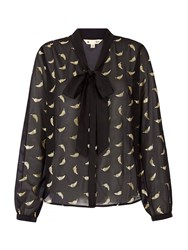Yumi Gold Feather Printed Blouse Black