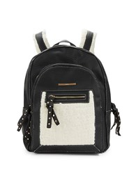 Kensie Sherpa Trimmed Leatherette Backpack