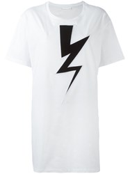 Neil Barrett Lightning Bolt Oversized T Shirt White