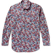 Engineered Garments Floral Print Cotton Poplin Shirt Blue