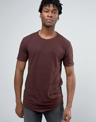 Only And Sons Longline T Shirt With Raw Edge Stitch Detail Deep Mahogony Red