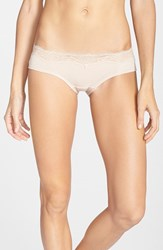 Women's Dkny 'Downtown' Lace Trim Cotton Hipster Briefs Pretty Nude