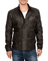 Lucky Brand Leather Moto Safari Jacket Black