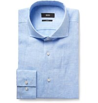 Hugo Boss Blue Jason Slim Fit Slub Linen Shirt Blue