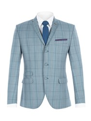 Gibson Men's Blue Check Jacket With Over Check Blue