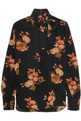 Valentino Pussy Bow Floral Print Silk Crepe De Chine Blouse Black