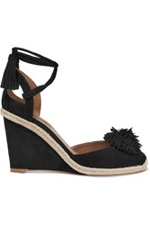 Aquazzura Sunshine Pompom Embellished Suede Wedge Espadrilles Black
