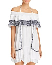 Muche Et Muchette Gavin Embroidered Off The Shoulder Ruffle Dress Swim Cover Up White Navy