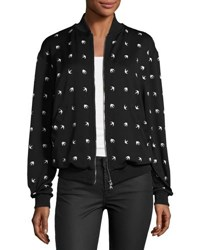 Mcq By Alexander Mcqueen Casual Swallow Print Bomber Jacket Darkest Black