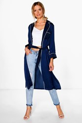 Boohoo Sofia Belted Satin Duster Navy
