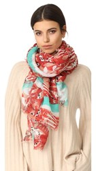 Franco Ferrari Leaves And Animal Scarf Red Turquoise