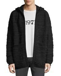 Saint Laurent Textured Hooded Cardigan Black