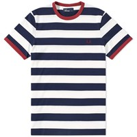 Fred Perry Striped Ringer Tee Blue