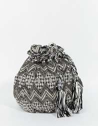 Becksondergaard Becksondergaard Bucket Bag In Monochrome Tapestry With Beading And Tassles Black