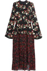 Mother Of Pearl Andres Floral Print Silk Dress Black