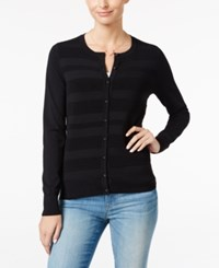 Charter Club Striped Cardigan Only At Macy's Deep Black