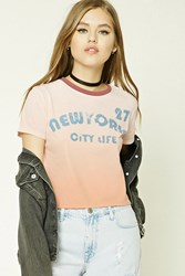 Forever 21 New York Graphic Dip Dye Tee Dusty Pink Blue