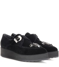 Mcq By Alexander Mcqueen Manor Embellished Velvet Platform Sneakers Black