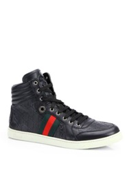 Guccissima High Top Sneakers Black Brown Rose