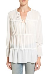 Hinge Women's Ruched Panel Peasant Top Ivory