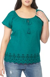Evans Plus Size Women's Off The Shoulder Embroidered Top Teal