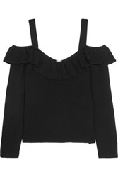 Iris And Ink Cold Shoulder Ribbed Knit Top Black