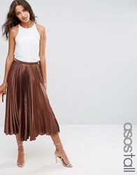Asos Tall Midi Skirt In Pleated Satin Chocolate Brown