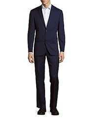 Saks Fifth Avenue Woolen Pin Dot Suit Blue Pindot