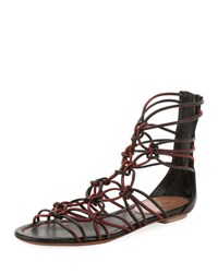 Alaia Elegant Cord Flat Sandals Black Red
