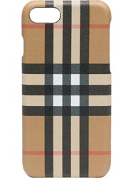 Burberry Check Printed Iphone 8 Case Nude And Neutrals