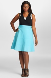 Mynt 1792 A Line Ponte Skirt Plus Size Bachelor Button