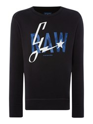 G Star Lamar Tapered Fit Graphic Crew Neck Sweat Black