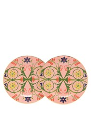 La Doublej Editions Stella Alpina Floral Two Piece Dessert Plate Set Pink Multi