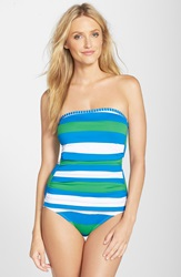 Tommy Bahama Rugby Stripe Bandeau One Piece Swimsuit Sailor Blue Palm Green White