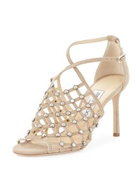 Jimmy Choo Donnie Crystal Caged Sandal Nude