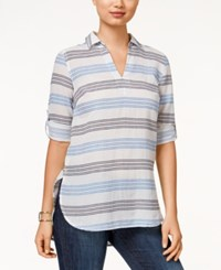 Tommy Hilfiger Katey Striped Button Side Tunic Top Navy Multi