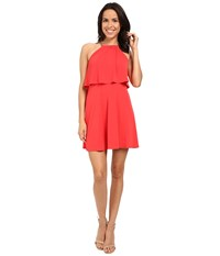 Jessica Simpson Solid Pop Over Dress Js6d8646 Poppy Red