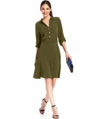 Ny Collection Petite Roll Tab Shirtdress Nice Olive