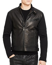 Ralph Lauren Black Label Leather Front Slim Fit Moto Jacket