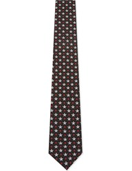 Givenchy Star And Cross Silk Tie Black White Red